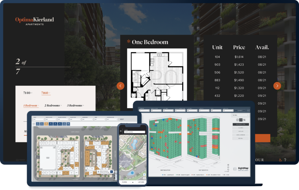 Engrain product suite showing Touch Tour and Sight Map products on TouchTour screen, laptop, iPad, and mobile phone.