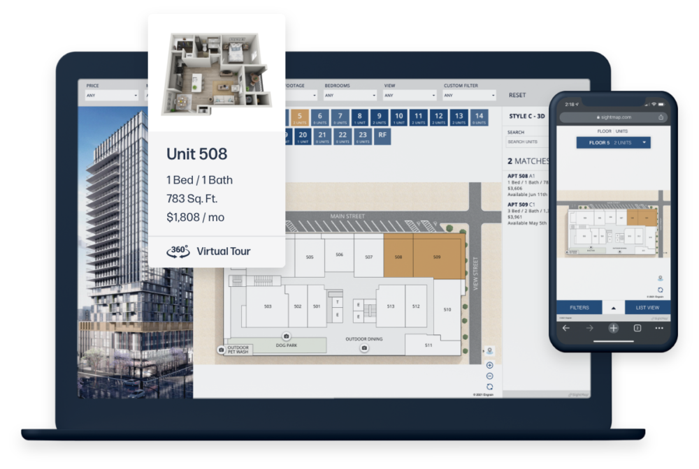 Laptop and phone showing responsive Sight Map software interfaces with property map and floor plan details.