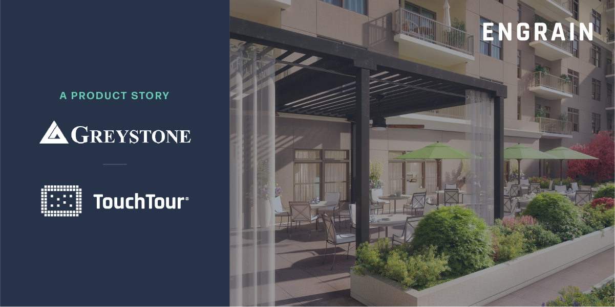 Thumbnail for Engrain Touch Tour Greystone product story with image of beautiful outdoor seating area.